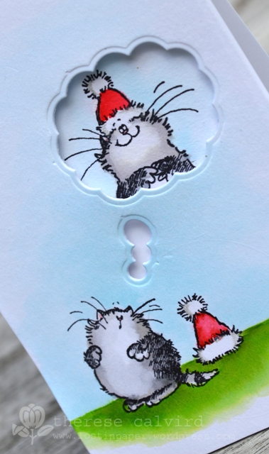 Christmas Cat in a Hat - Detail