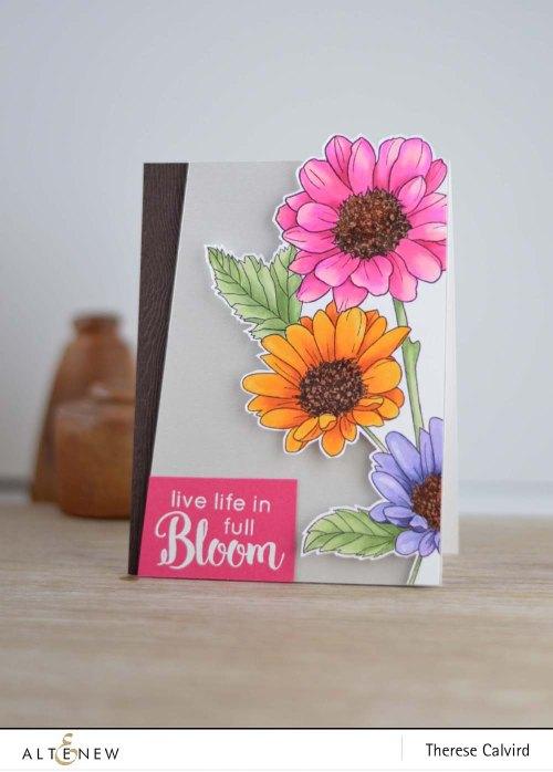 Altenew Daisy flowers coloured as Gerberas