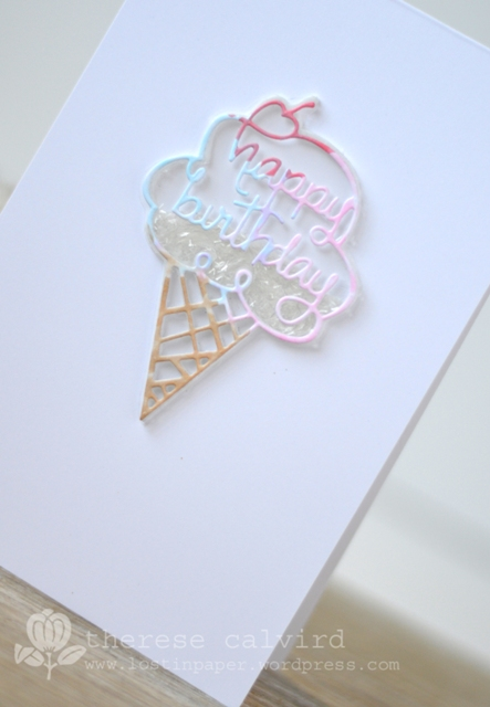 Lostinpaper - Penny Black pillow box creative die - ice cream shaker CAS card (video)