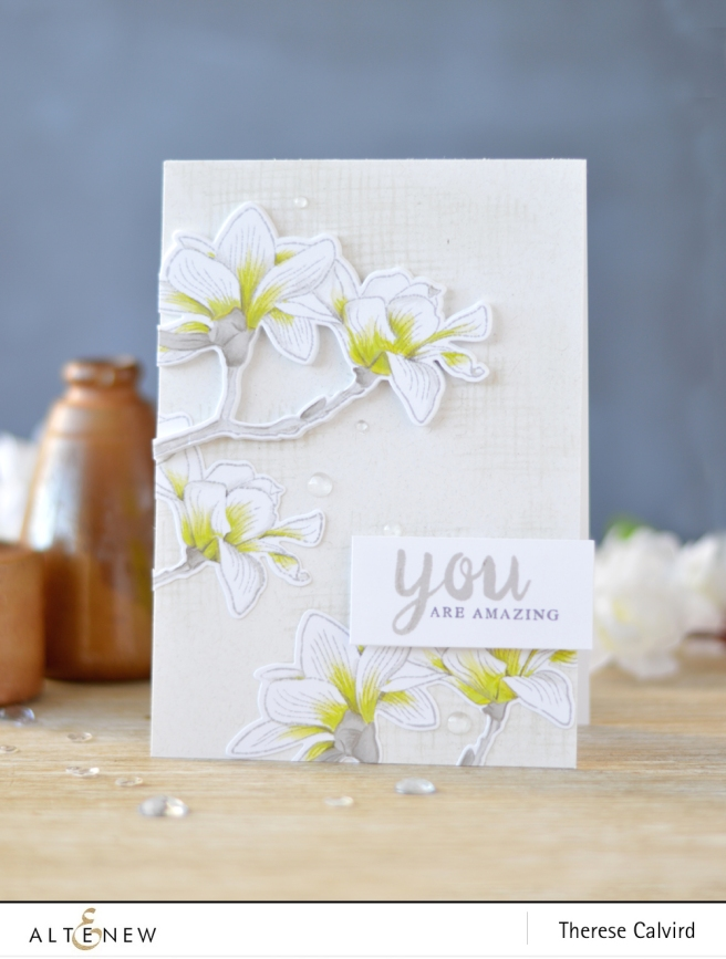 Altenew - Build-A-Flower Magnolia - Calligraphy Alpha - Lostinpaper (card video) 1 copy