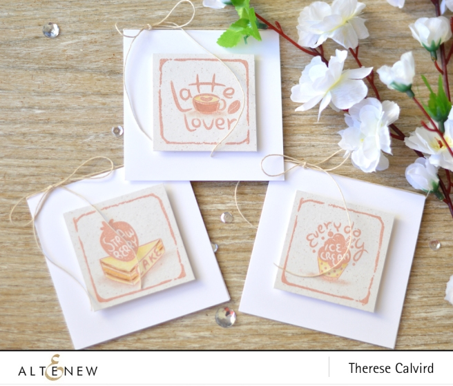Altenew - Watercolor Frames - Ice Cream - Latte - Strawberry - Lostipaper (mini card set) copy