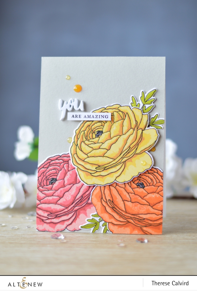 Altenew - Build-A-Flower - Ranunculus - Magnolia - Lostinpaper (card) 2 copy