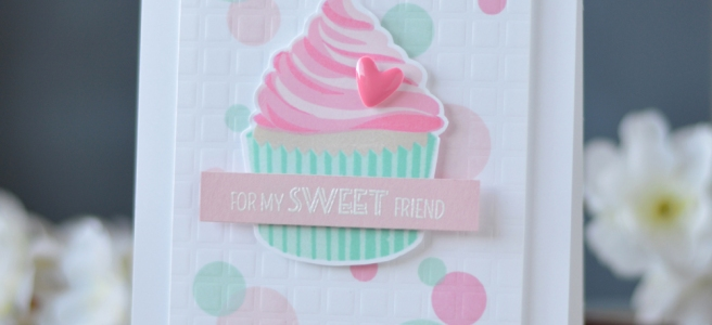 Altenew - Layered Cupcake - Grid Stencil - Lostinpaper (card video) 1 copy