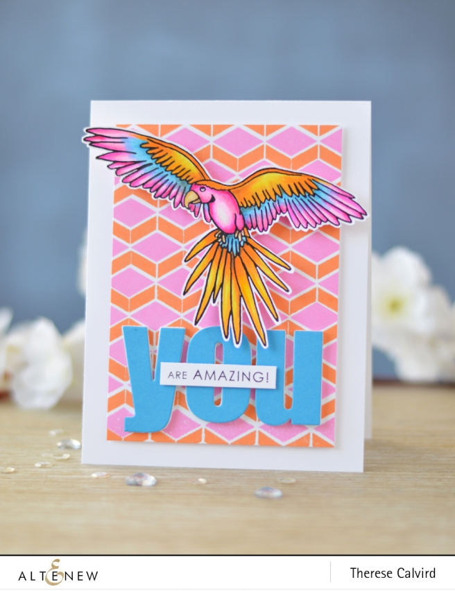 Altenew - Parrot Paradise - Pattern Play Hexagon - Bold Alphabet - Lostinpaper (card video) 1 copy