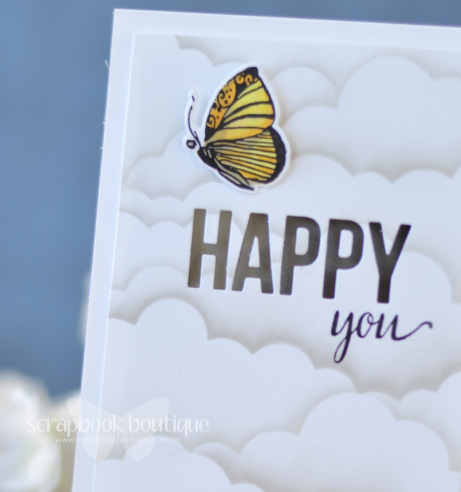 Lostinpaper - MFT Cloud Stencil - Happy Greetings - Altenew - Botanical Garden (card) 1