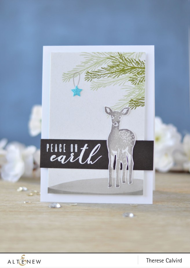 Altenew - Peace on Earth - Modern Deer - Halftone Stars - Lostinpaper (card) 1 copy