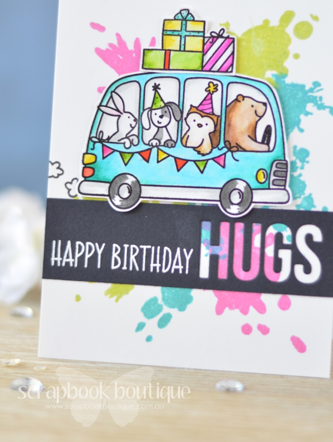 Lostinpaper - Avery Elle - Birthday Bus - Altenew - Splash of Color - MFT - Words for Friends - Zigs (card video) 1