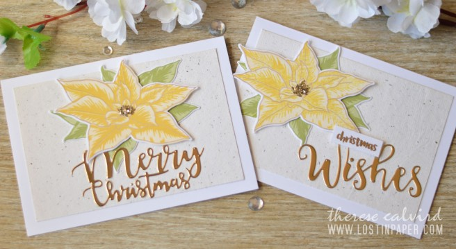 Lostinpaper - Altenew BAF Poinsettia - Holiday Script Words - Penny Black - Ornamental Branch (card video) 1