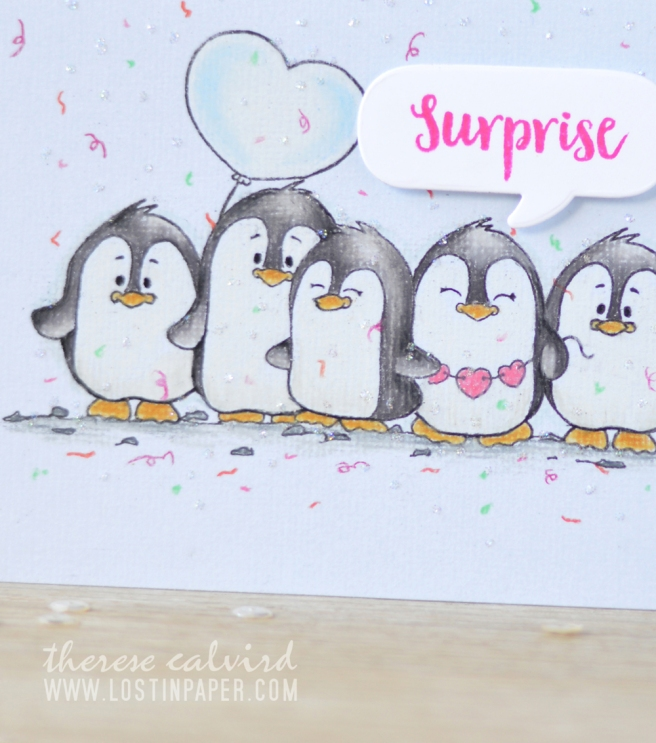 Lostinpaper - Gerda Steiner - Valentine Penguins - Prismacolor Pencils (card video) 1