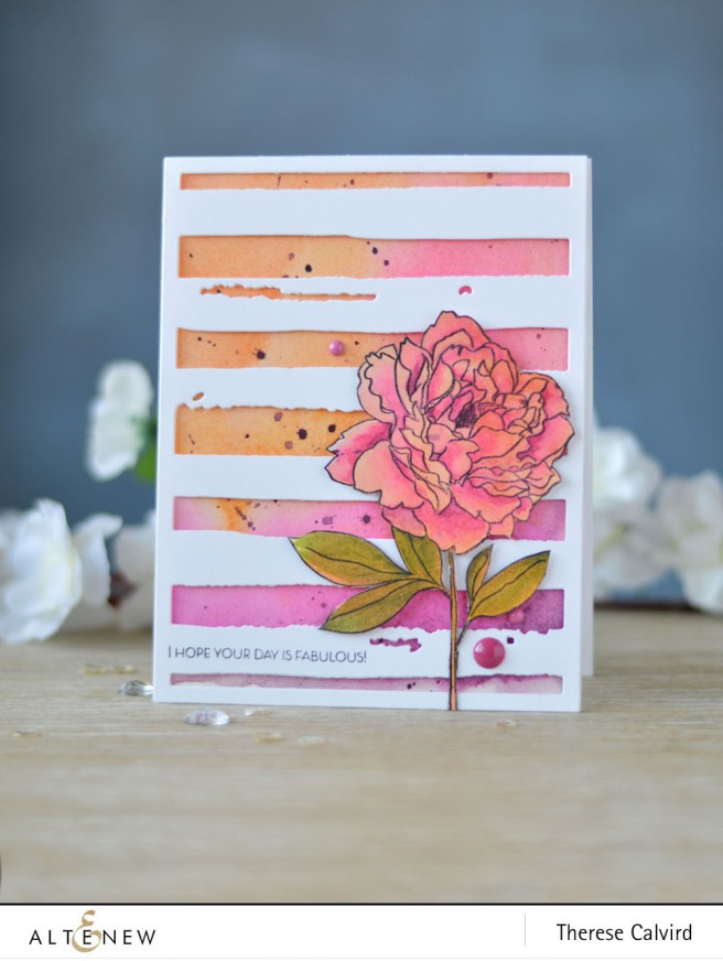 Altenew - Peony Spray - Watercolor Stripes - Lostinpaper (card video) - thumbnail