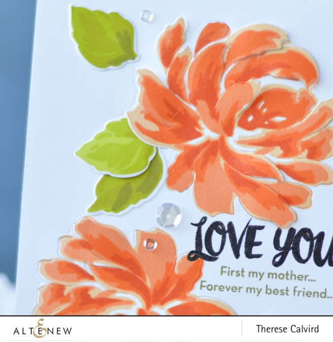 Altenew - BAF - Chrysanthemum - Oriental Orchid - Precious Moments - Therese Calvird (card video) 1 copy