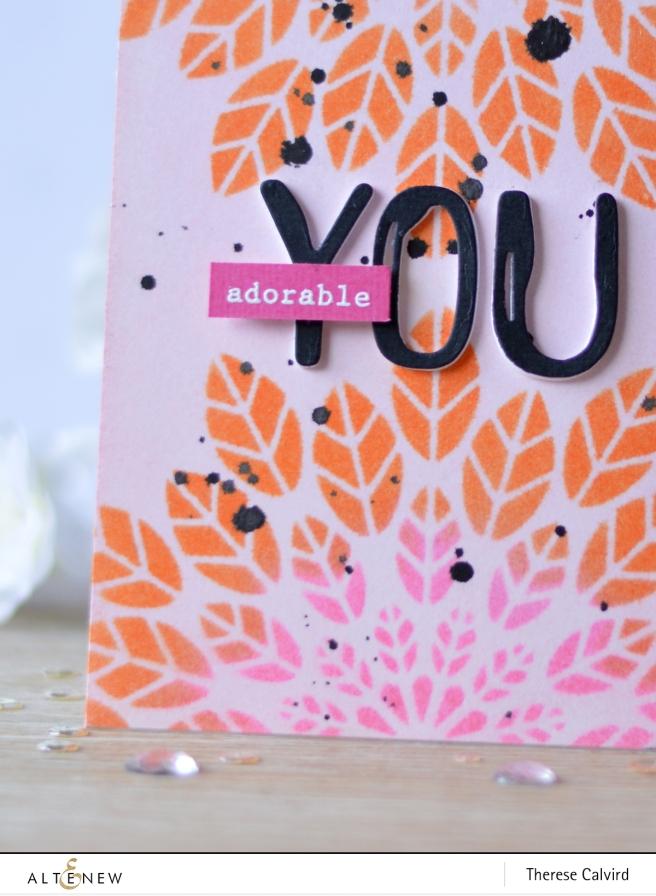 Altenew - Leaf Burst Stencil - Brush Alpha Die - Therese Calvird (card video) 2 copy