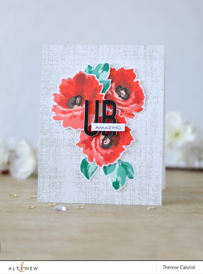 Altenew - Fabulous Floral - Rustic Linen - Fine Alphabet - Therese Calvird (card video) 1 copy