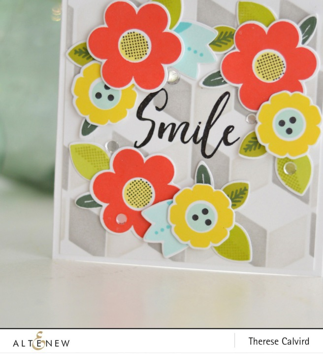 Altenew - Folksy Florals - Cube Builder Stencil - Therese Calvird (card video) 1 copy