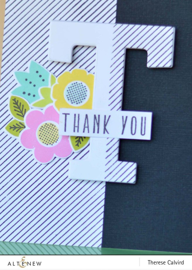 Altenew - Pinstripe - Mega Alphabet - Folksy Florals - Therese Calvird (card video) 1 copy