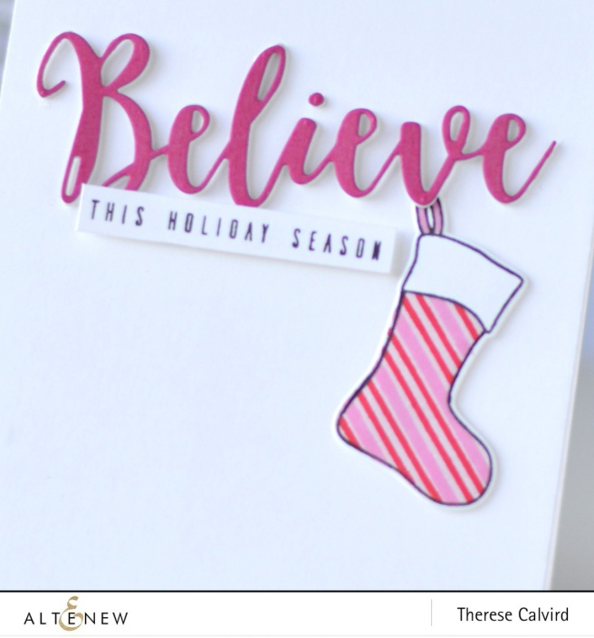 Altenew - Christmas Stockings - Festive Poinsettia - Holiday Script Words - Therese Calvird (card) 1 copy