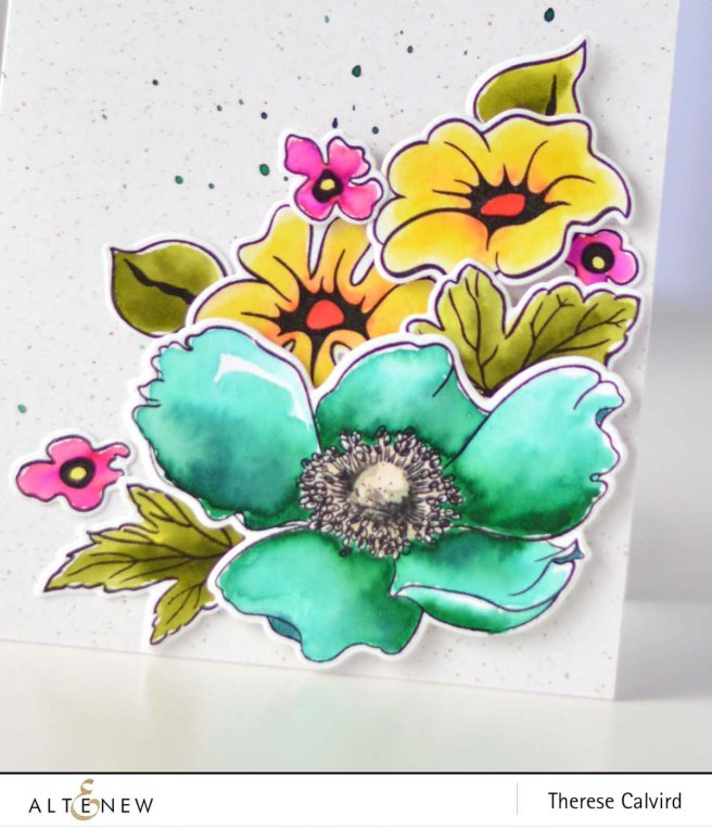 Altenew - Anemone - Whimsical Flowers - Watercolor Brush Markers - Therese Calvird (card video) 1 copy