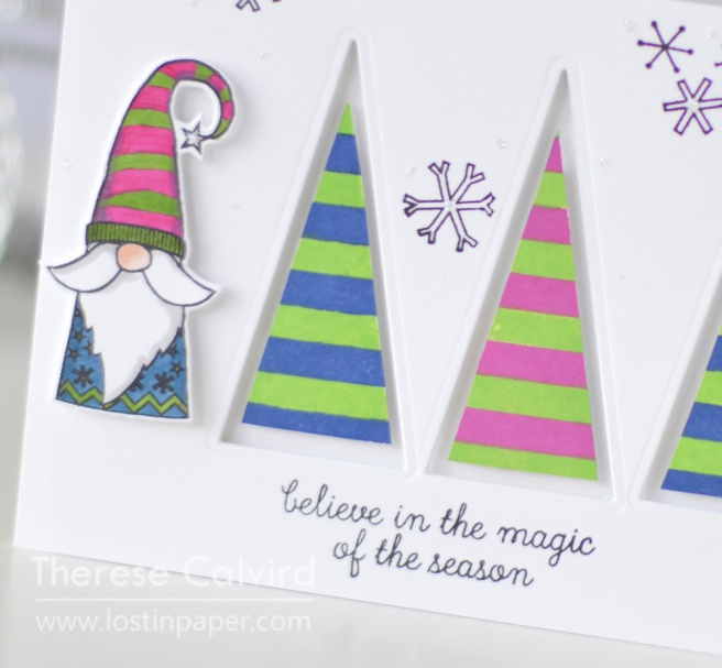 Lostinpaper - Reverse Confetti - Holiday Gnomes - Triangle Trees (card) 1