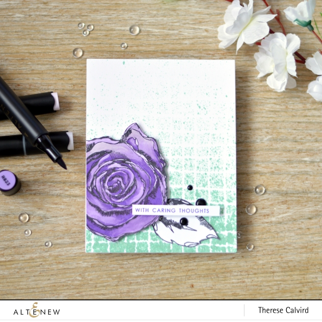 Altenew - Wavy Grid - Inked Rose - Therese Calvird (card) 1