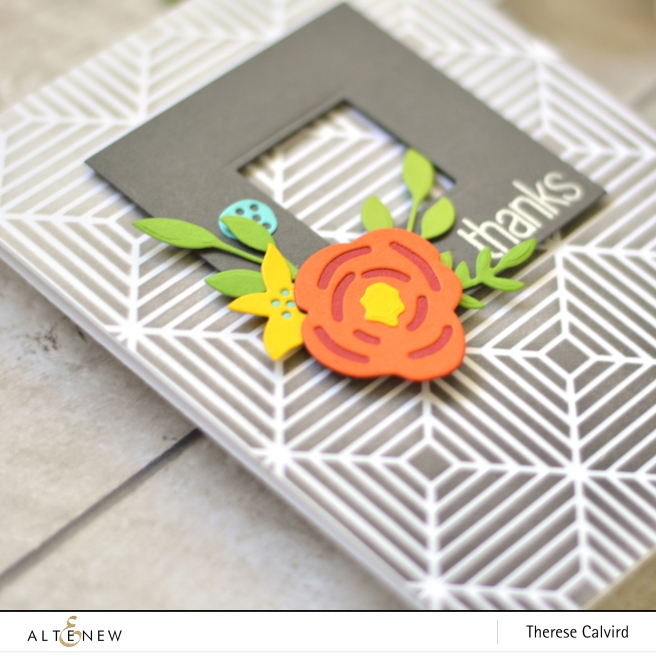 Altenew - Beveled Squares Stencil - Layered Floral Elements - Therese Calvird (Take 2 card video) 1 copy