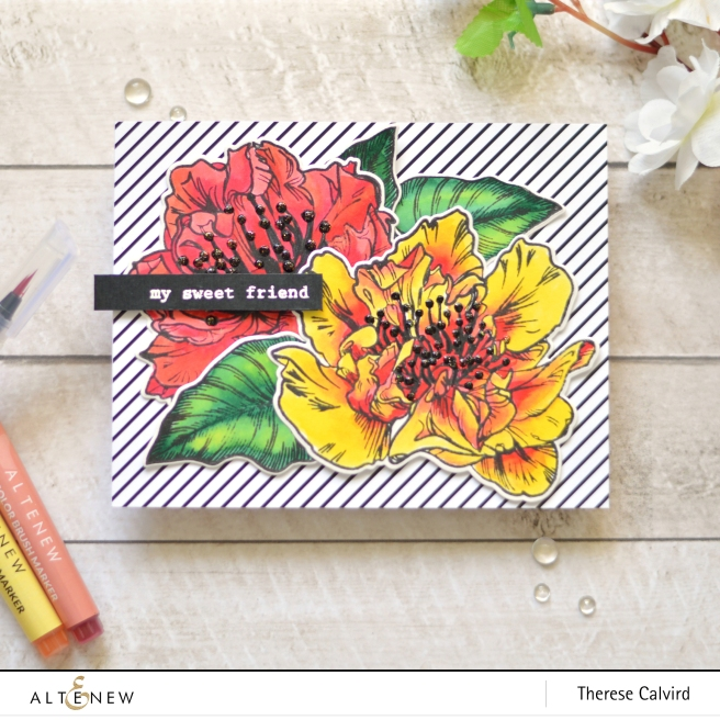 Altenew - Engagement Wishes - Ruffled Flowers - Watercolor Brush Markers - Winter Wonderland - Therese Calvird (card video) 2 copy