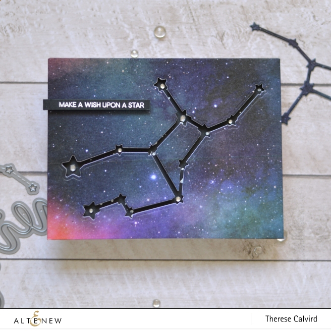 altenew - virgo - zodiac constellation die - watercolor nebula washi - therese calvird (card) 1 copy