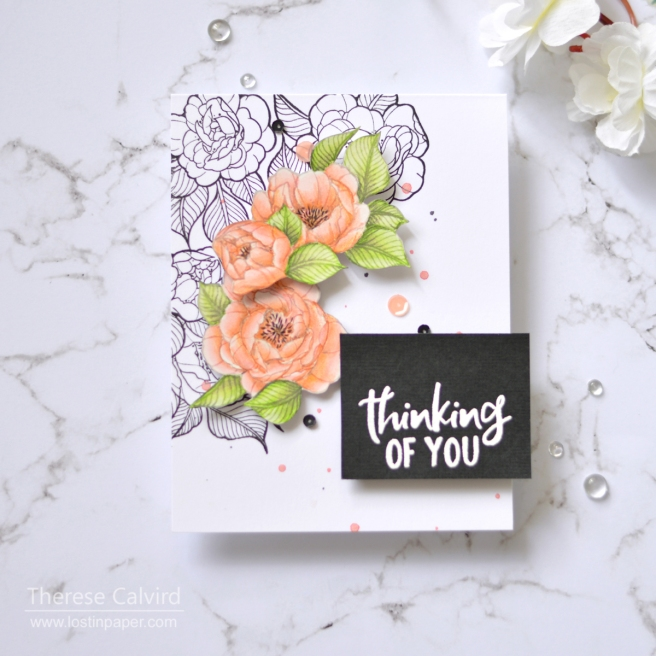 Lostinpaper - Spellbinders - Just Add Color - Peonies Bundle (card) 1