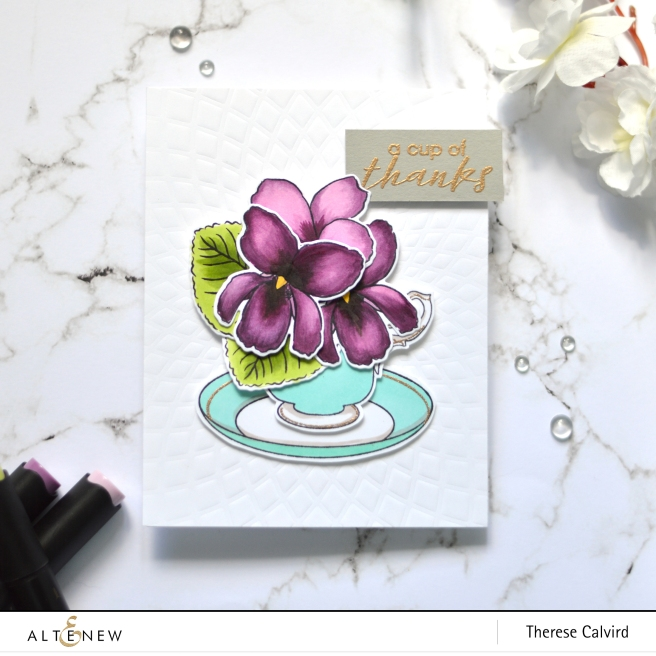 Altenew - BAF - Sweet Violet - Vintage Teacup - Therese Calvird (card video) 1 copy