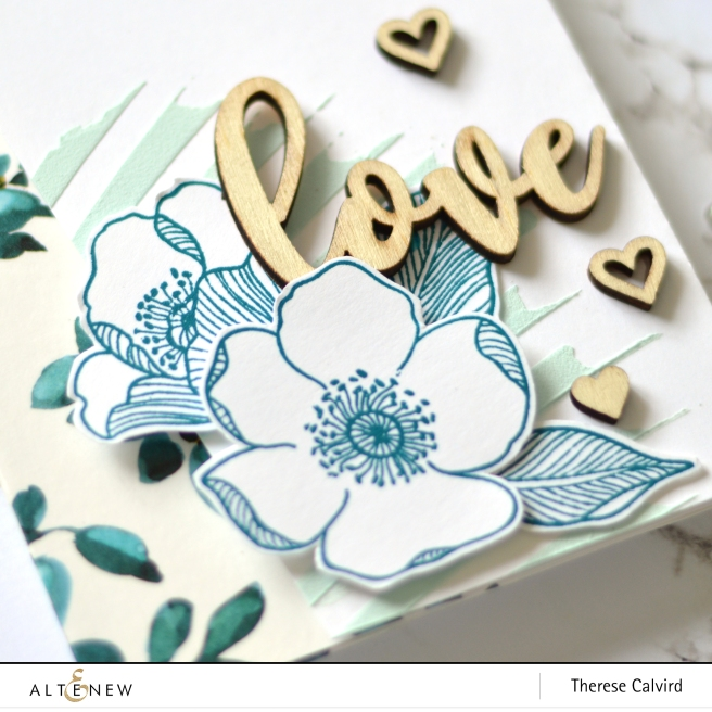 Altenew - Adore You - Teal Shadow Washi - Molded Lines Stencil - Therese Calvird (card) 1 copy