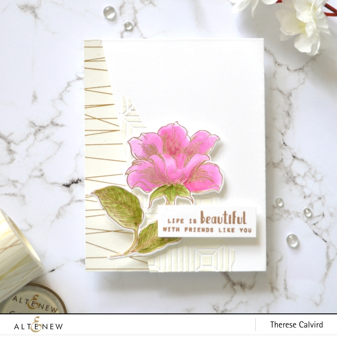 Altenew - Engraved Flowers - Gold String Washi - Beveled Squares Stencil - Therese Calvird (card video) 2 copy