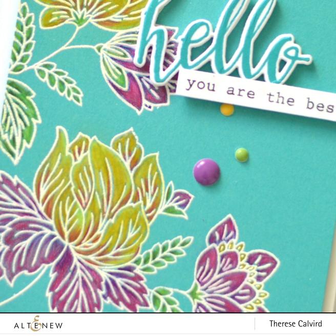 Altenew - Ornate Foliage - Halftone Hello - Therese Calvird (card video) 1 copy