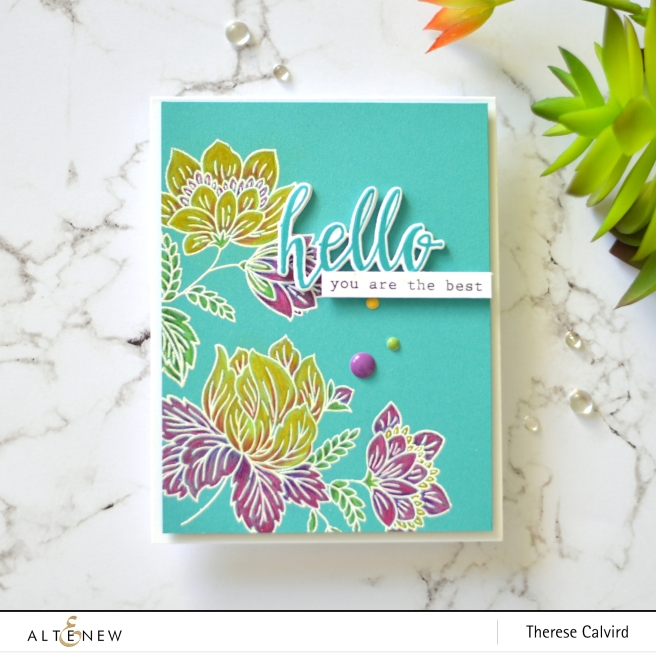 Altenew - Ornate Foliage - Halftone Hello - Therese Calvird (card video) 1 copy
