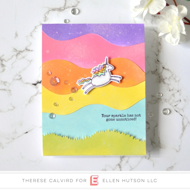 Lostinpaper - Ellen Hutson - Landscapes - Unicorns 'N' Rainbows (card) 1 copy