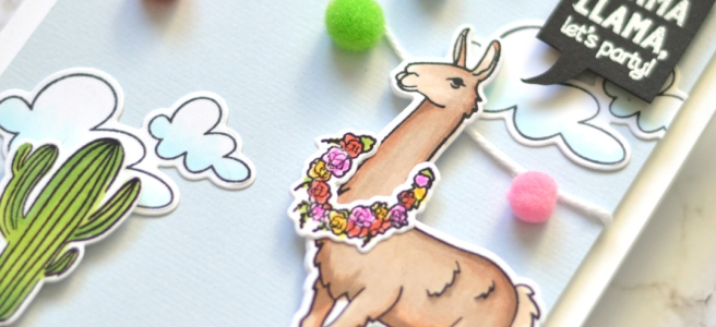 Lostinpaper - Llama Party - Hero Arts - Ellen Hutson (card video) 1