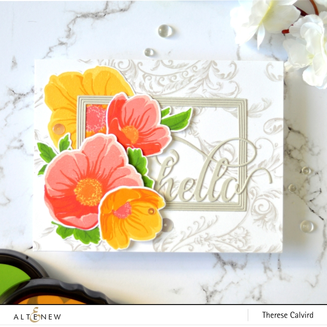 Altenew BAF Hellebore - Fine Frames Rectangle - Therese Calvird (card video) 1 copy