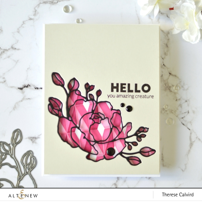 Altenew - Diamond Builder Stencil - Fine Bouquet Die - Super Striped Floral Die - Take 2 With Therese (card video) 2 copy