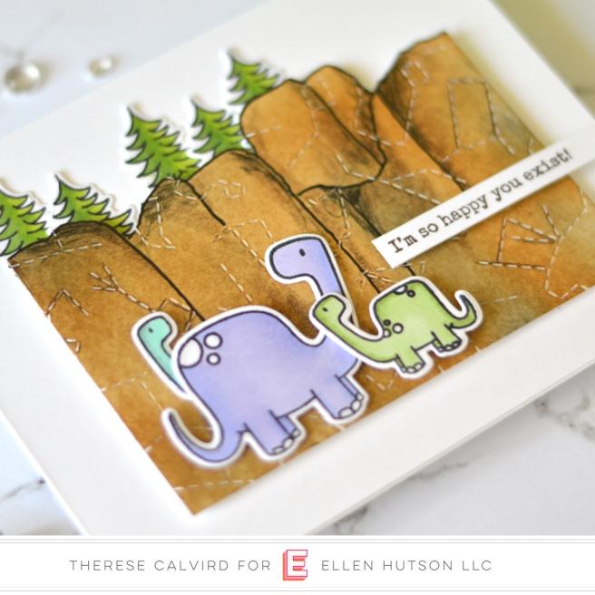 Lostinpaper - Ellen Hutson - Dinomite Christmas (card) 1 copy