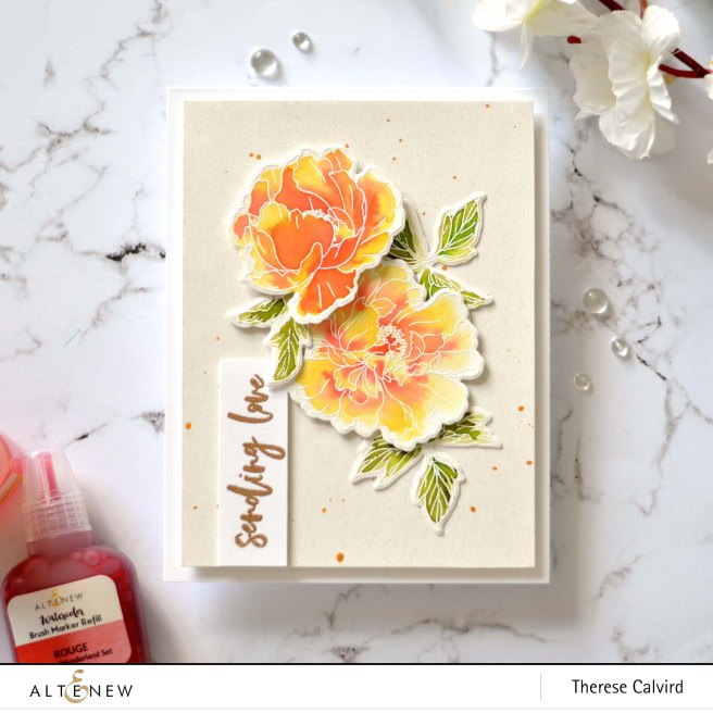 Altenew - Beautiful Peony - Waterbrush Marker Refill - Therese Calvird (card video) 1 copy