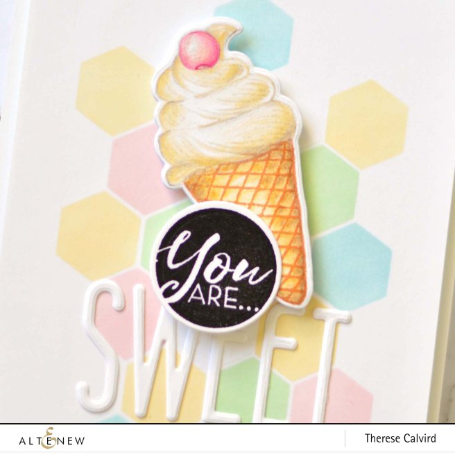 Altenew - Honeycomb Stencil - Summer Swirls - Tall Alpha - Therese Calvird (card video) 1 copy