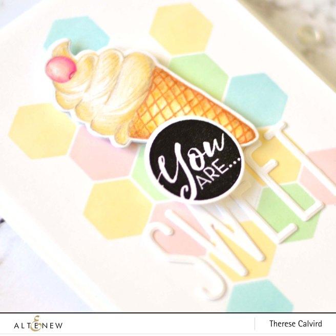 Altenew - Honeycomb Stencil - Summer Swirls - Tall Alpha - Therese Calvird (card video) 1 copy