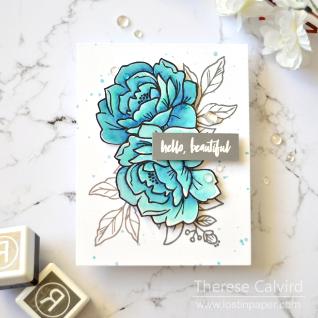 Lostinpaper - Reverse Confetti - Peony - Sentimentally Yours (card) 1