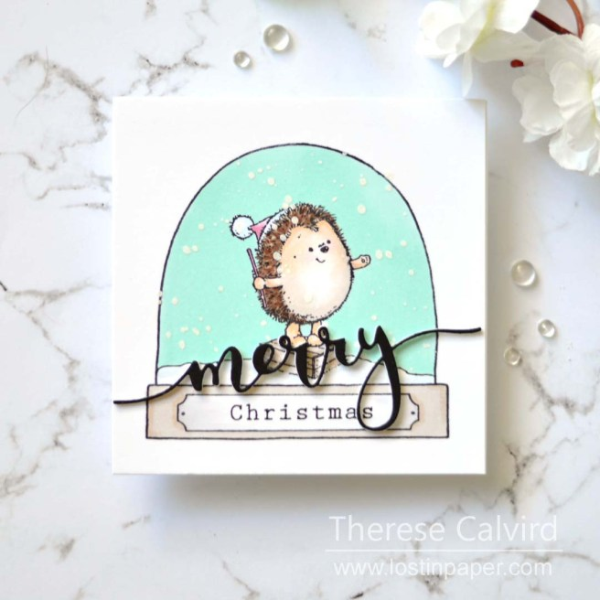 Penny Black Gimme 5 - Hedgehog SnowGlobes - Therese Calvird (card video) 1