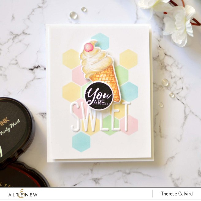 Altenew - Honeycomb Stencil - Summer Swirls - Tall Alpha - Therese Calvird (card video) 3 copy