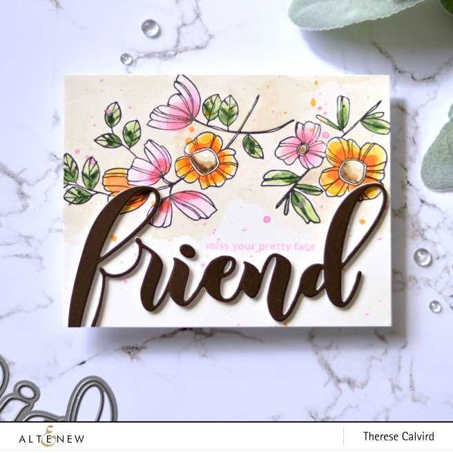 Altenew - Weekend Doodlees - Delicate Flower Bed - Mega Friend Die - Therese Calvird (card video) 2 copy