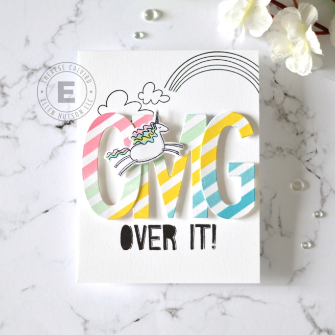 Lostinpaper - Ellen Hutson - Unicorns N Rainbows - OMG (card) 1 - Copy