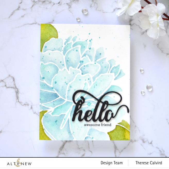 Altenew - Mega Bloom Stencil - Fancy Hello Die - Therese Calvird (card video) 1 copy