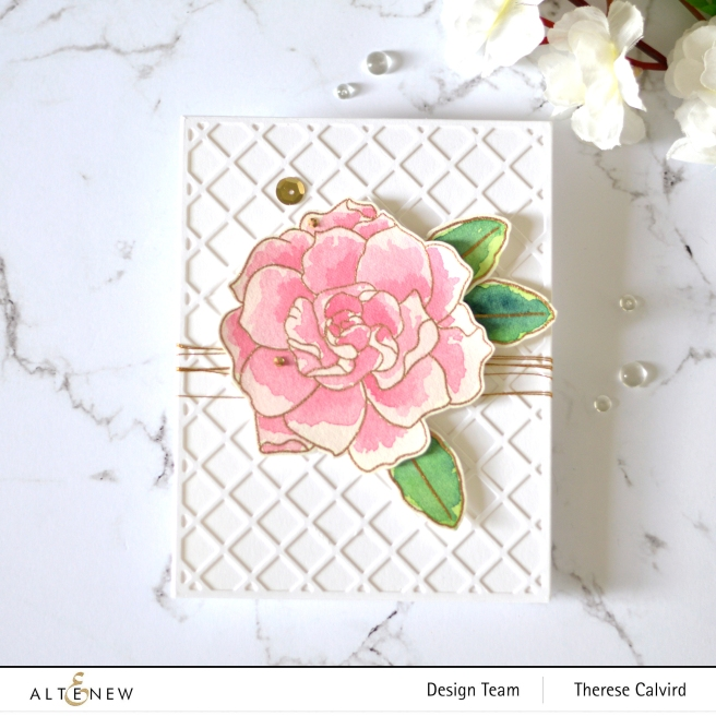 Altenew - Amazing Things - Garden Trellis - Metallic Thread - Therese Calvird (card) 2 copy