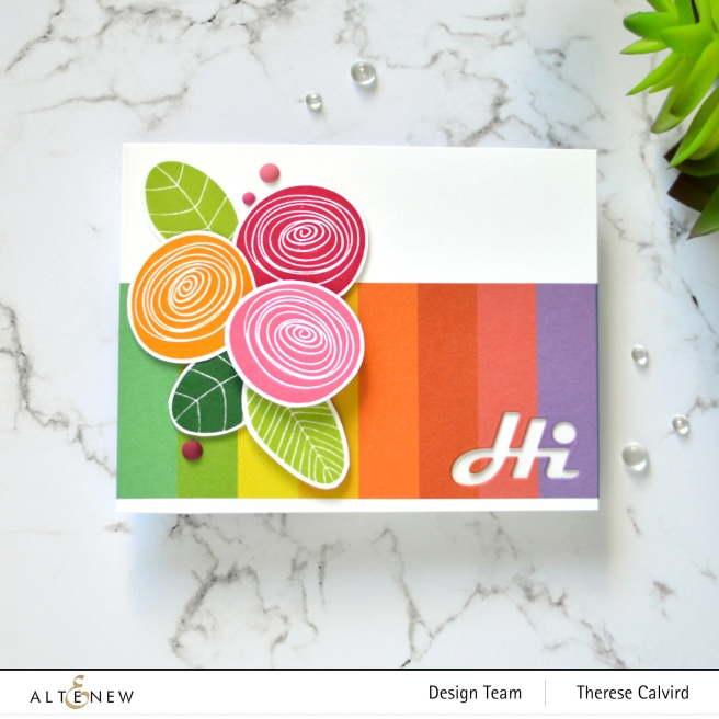 Altenew - Simple Flowers - Block Rainbow Washi Tape - Therese Calvird (card) 1 copy