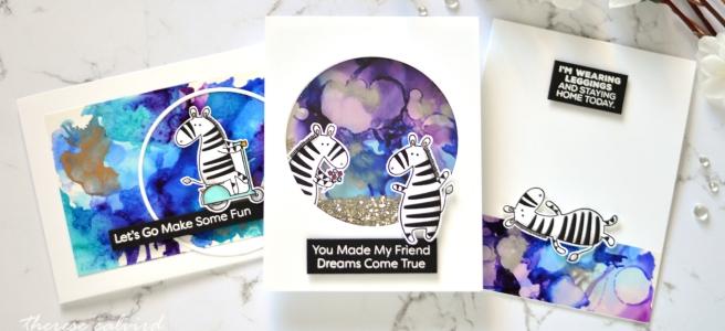 Lostinpaper - Ranger Alloy - MFT Zippy Zebras (card video) 1