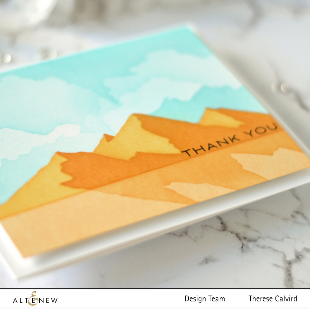 Altenew - Mountain Scene Stencil - Cloud Scene Stencil - Many Thanks 1 copy
